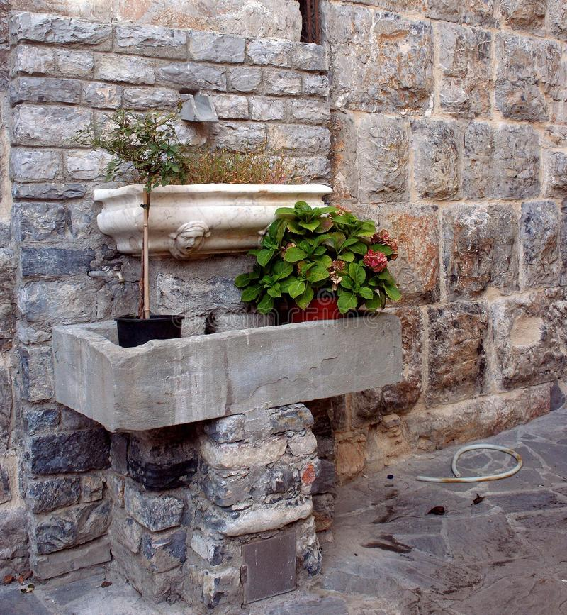 Parete antica con i mattoni esposti ed i carri armati di marmo che contengono i vasi con le piante fotografia stock libera da diritti