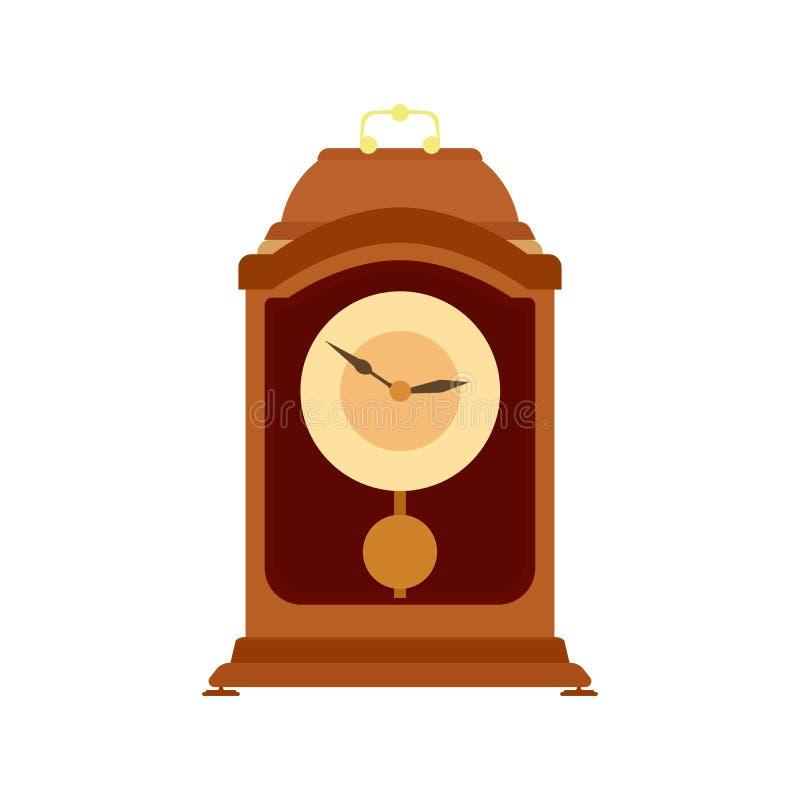 Parete antica di prima generazione di tempo dell'illustrazione di vettore del pendolo di orologio vecchia illustrazione di stock