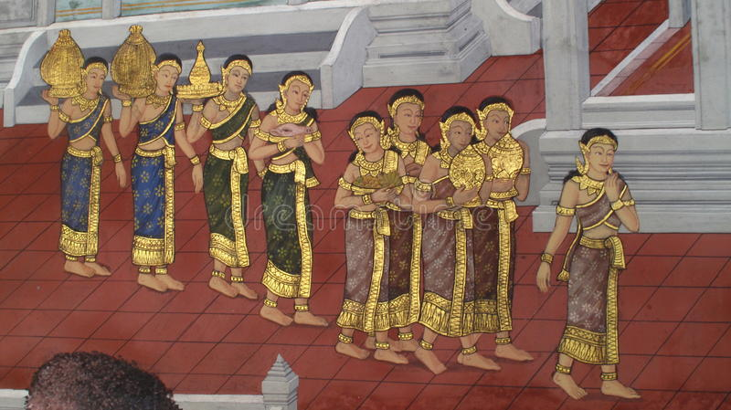 Parete Art Thailand Culture illustrazione di stock
