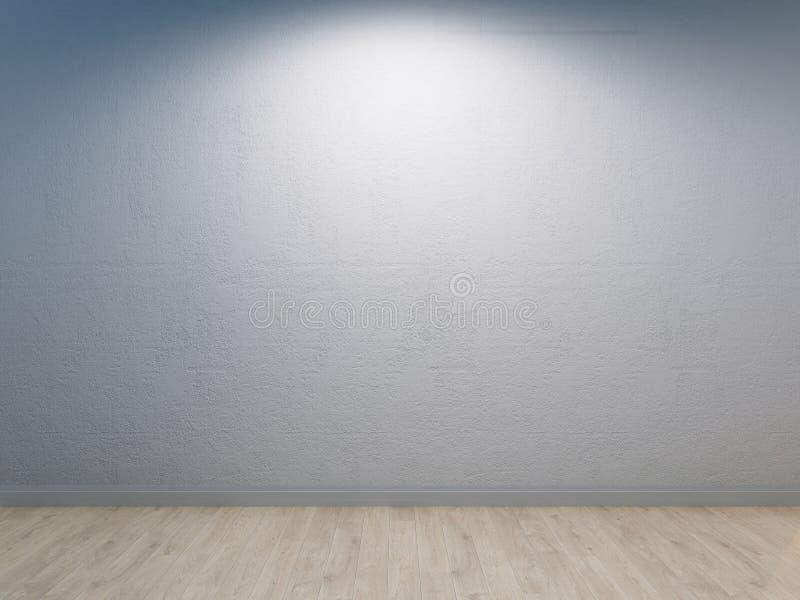 Parete bianca con intonacare del calcestruzzo ed il pavimento di legno leggero illustrazione vettoriale