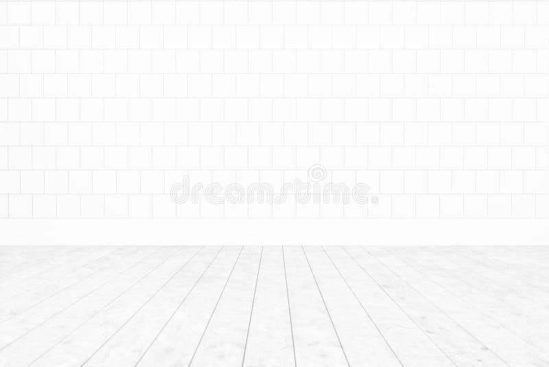 Parete bianca delle mattonelle della stanza in bianco, fondo interno minimo del pavimento di legno bianco per progettazione, rapp fotografia stock libera da diritti