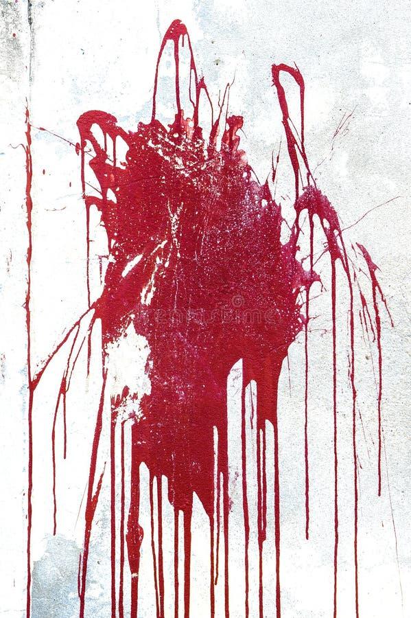 Parete bianca di lerciume con la spruzzata rossa della pittura illustrazione di stock