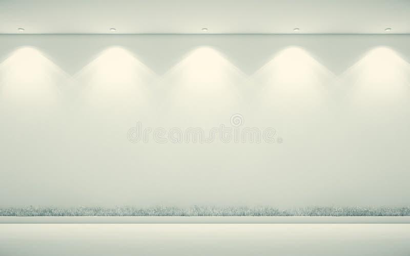 Parete bianca, pavimento bianco, lampade, illustrazione 3d illustrazione vettoriale