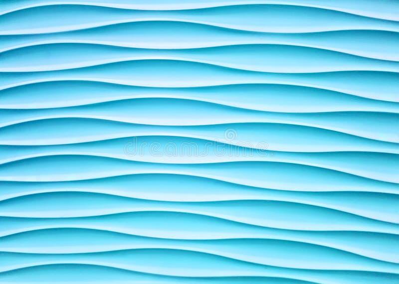 Parete blu-chiaro astratta con forma del gesso dell'onda per fondo fotografie stock