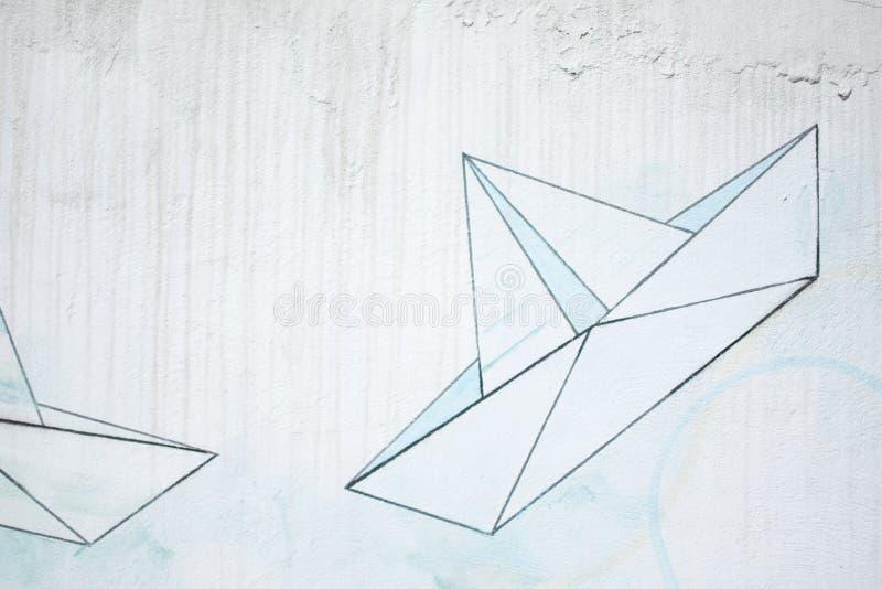 Parete con i graffiti della barca immagine stock libera da diritti