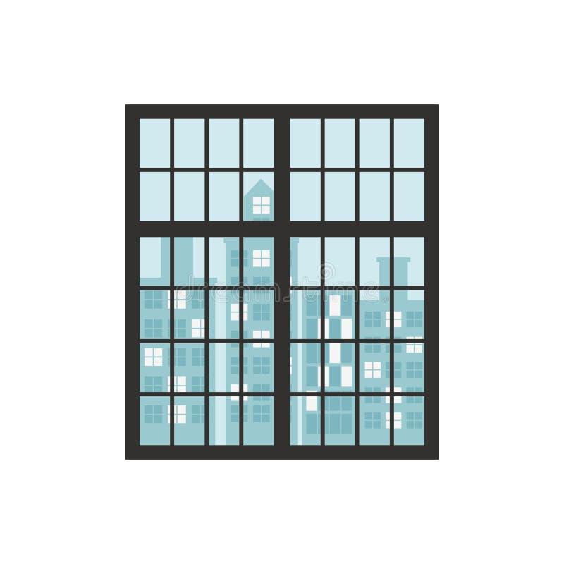 Parete con le finestre e le costruzioni del fondo illustrazione di stock