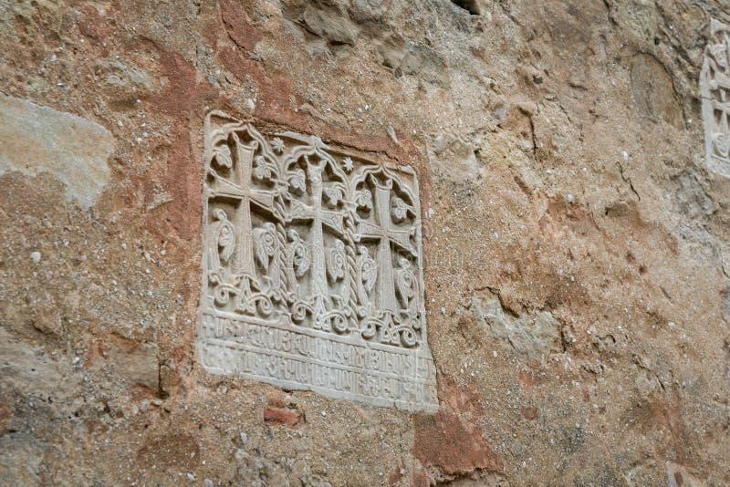 Parete con le impronte degli affreschi antichi immagini stock