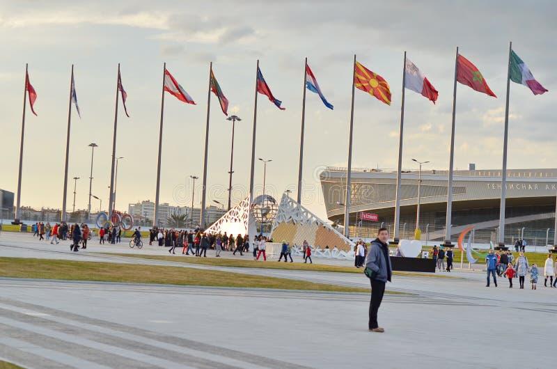 Parete con le medaglie olimpiche in parco olimpico, Soci, Federazione Russa fotografia stock