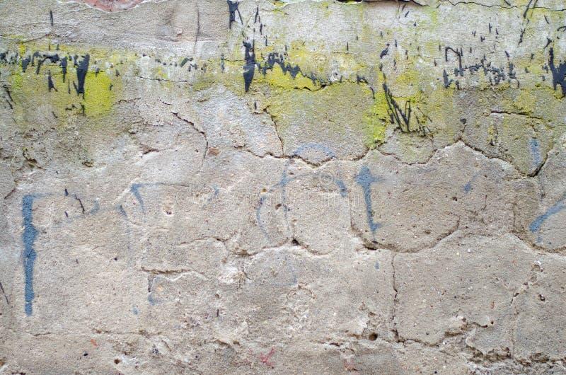 Parete concreta grigia del garage con i punti di pittura nera e verde fotografia stock