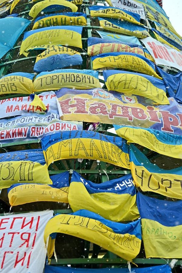 Parete dalle bandiere sull'euro riunione maidan a Kiev, Ucraina, fotografia stock