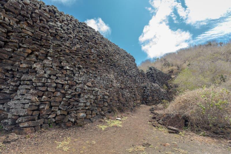 Parete degli strappi, Muro de las Lagrimas, Isabela Island, isole Galapagos, Ecuador immagine stock