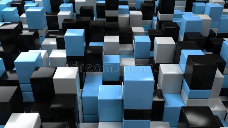Parete dei cubi bianchi, neri e blu illustrazione di stock