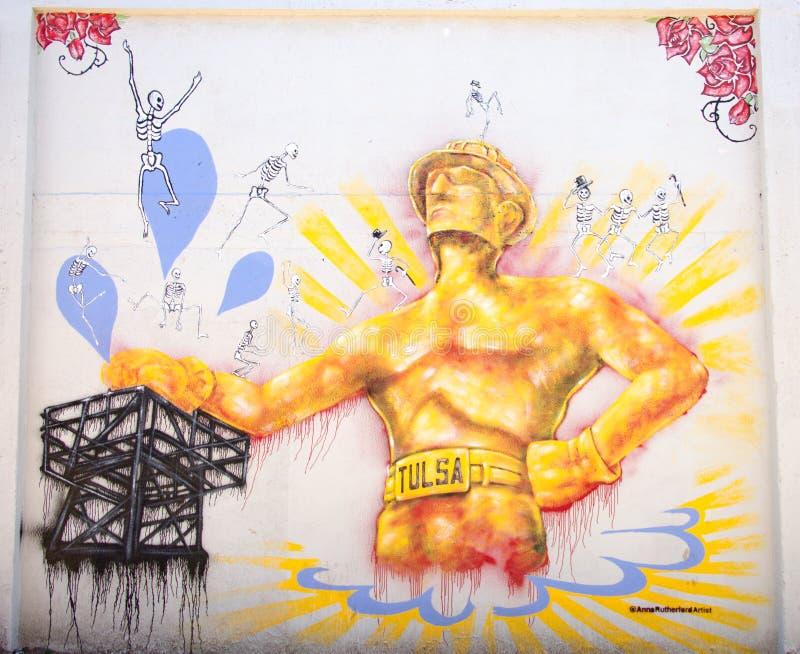 Parete dei graffiti della perforatrice di Tulsa fotografia stock libera da diritti