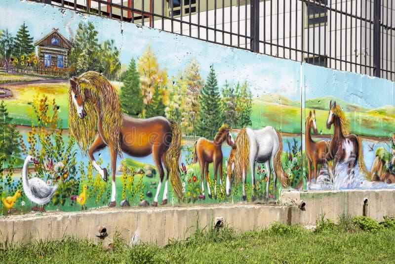 Parete dei graffiti sulla galleria pubblica della via fotografie stock
