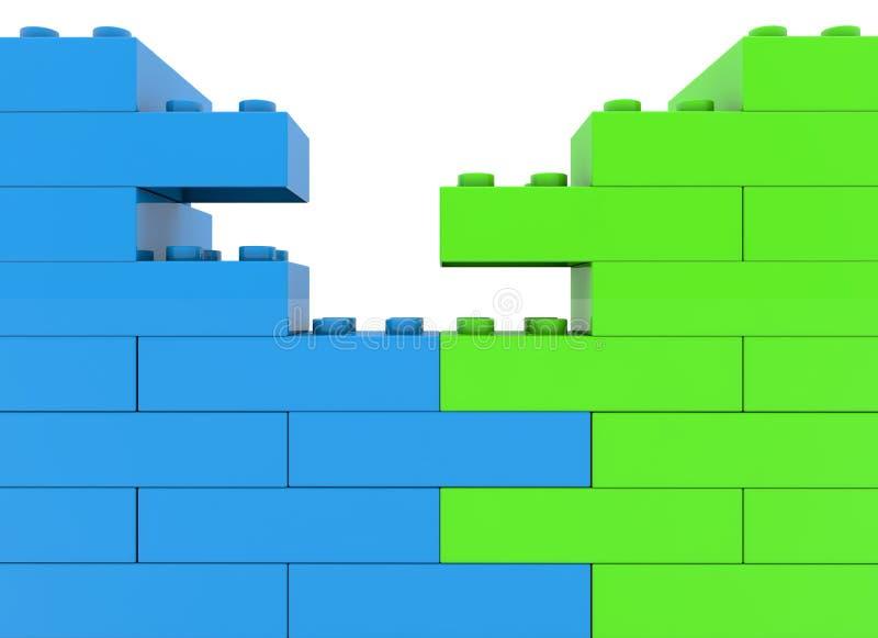 Parete dei mattoni del giocattolo in due colori illustrazione vettoriale