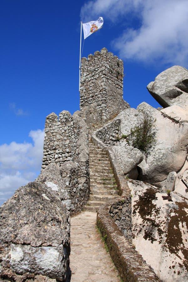 Parete del castello di Sintra fotografia stock libera da diritti