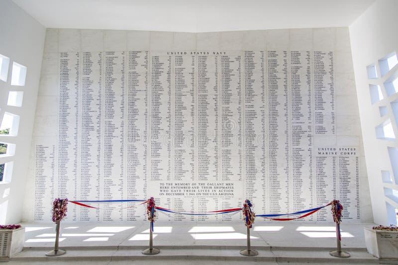 Parete del memoriale di USS Arizona fotografia stock