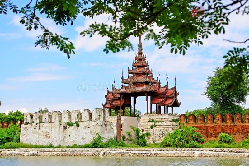 Parete del palazzo di Mandalay, Mandalay, Myanmar immagine stock