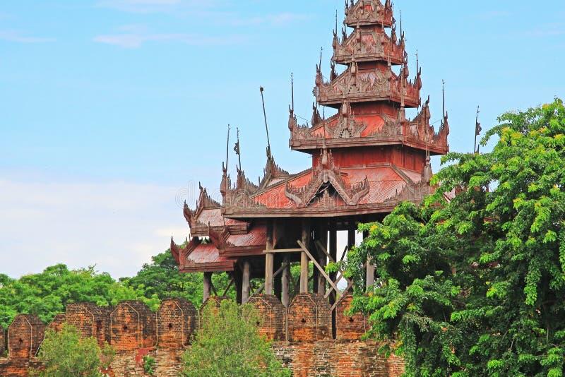 Parete del palazzo di Mandalay, Mandalay, Myanmar fotografia stock libera da diritti