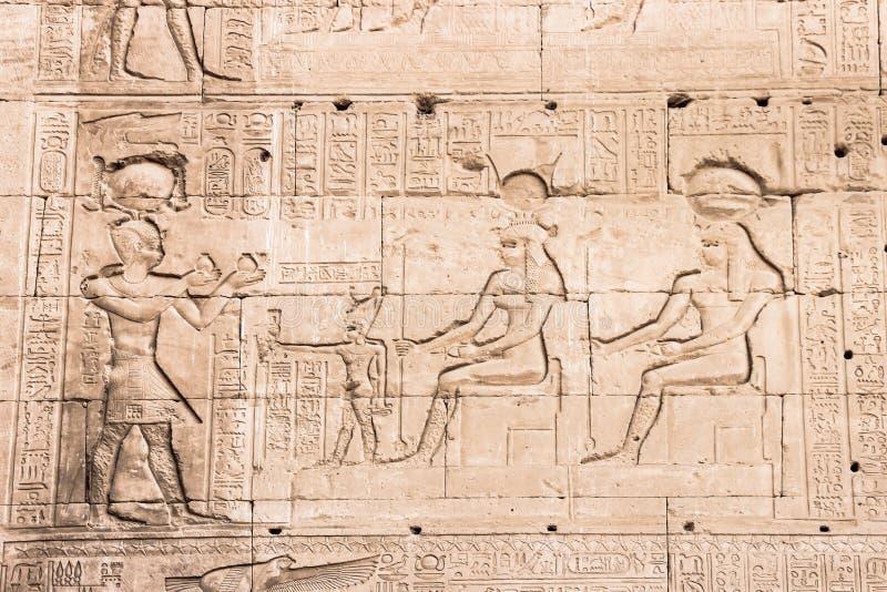 Parete del tempio di Hathor a Dendera immagine stock libera da diritti