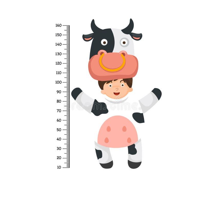 Parete del tester con il costume della mucca illustrazione di stock