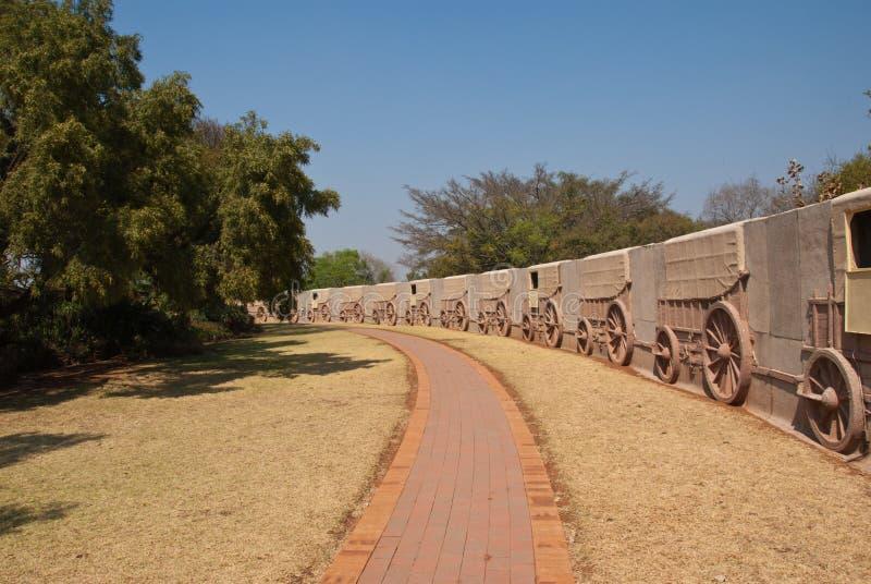 Parete del vagone del monumento di Voortrekker fotografia stock libera da diritti