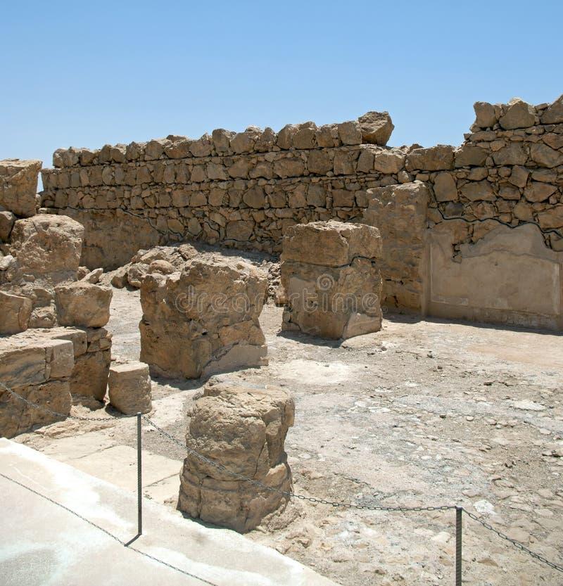 Parete della barriera nella fortezza Masada immagine stock libera da diritti