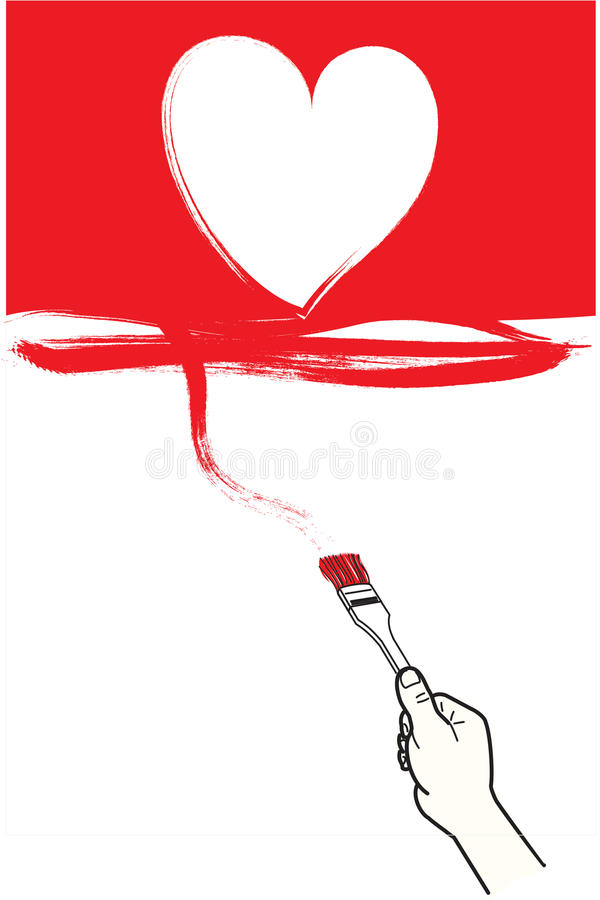 Parete della casa della pittura nel colore rosso con cuore royalty illustrazione gratis