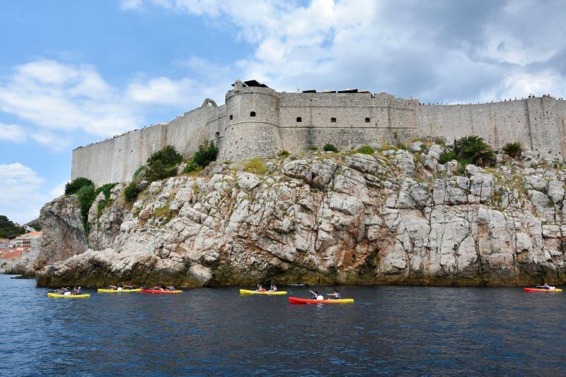Parete della città di Dubrovnik fotografia stock