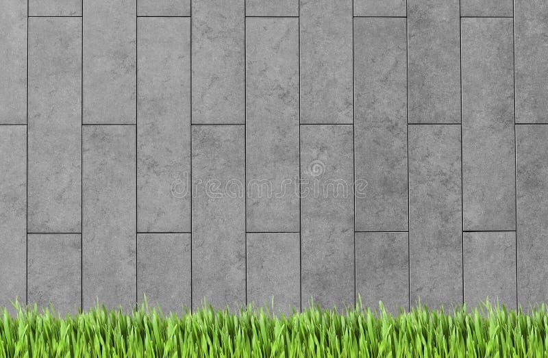 Parete della costruzione e fondo dell'erba verde royalty illustrazione gratis