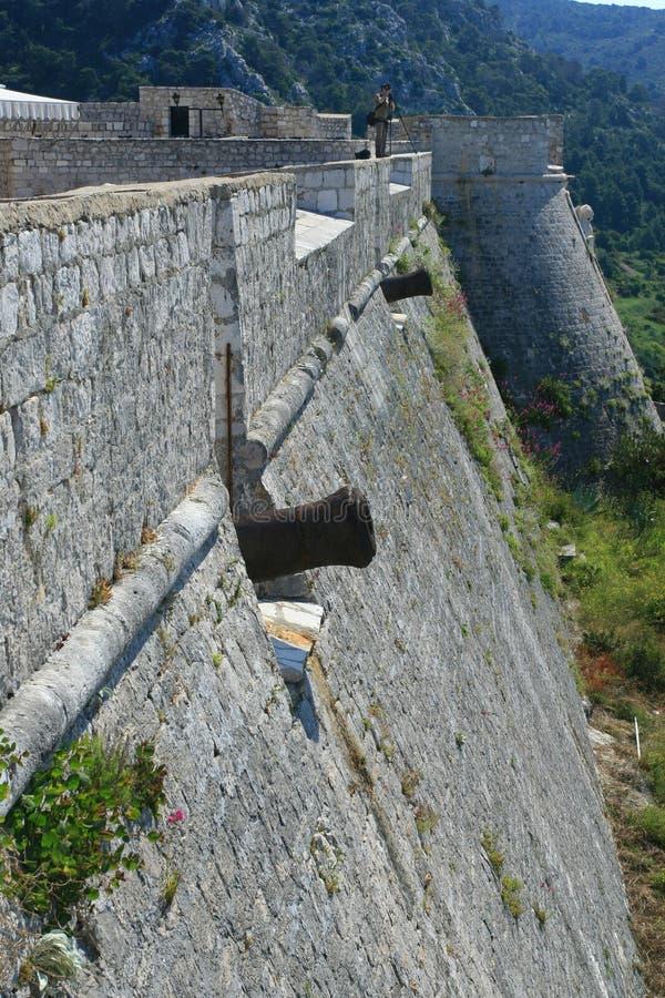 Parete della fortezza con i cannoni immagine stock libera da diritti