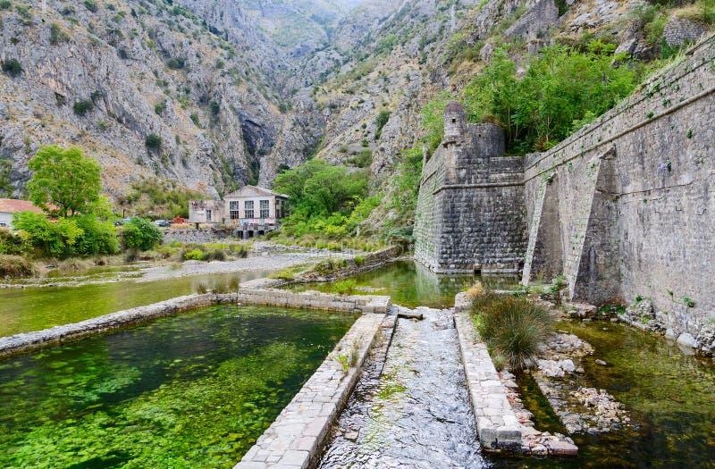 Parete della fortezza del bastione Riva vicino al fiume Shkurda, vecchia città di Cattaro fotografia stock