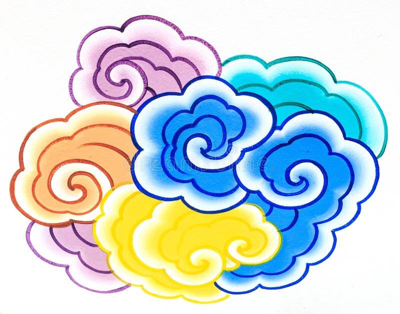 Parete della pittura della nube in tempiale cinese fotografie stock