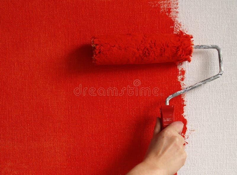 Parete della pittura nel colore rosso immagini stock