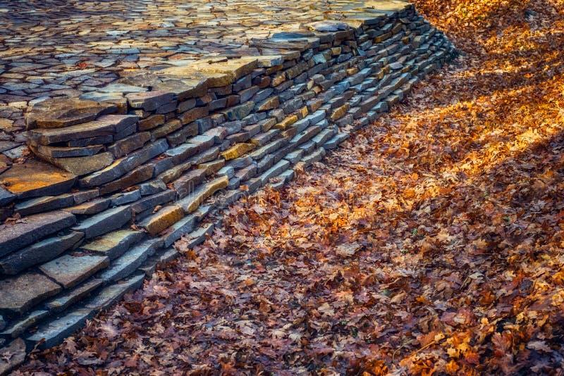 Parete delle pietre del fiume nella foresta di autunno fotografia stock