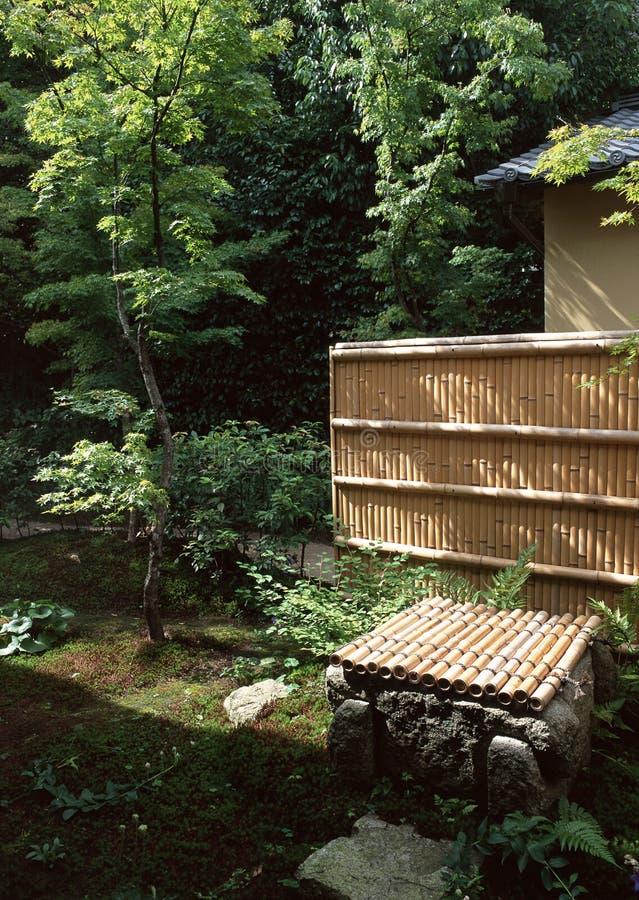 Parete di bambù giapponese in giardino all'aperto con gli alberi e le piante immagine stock