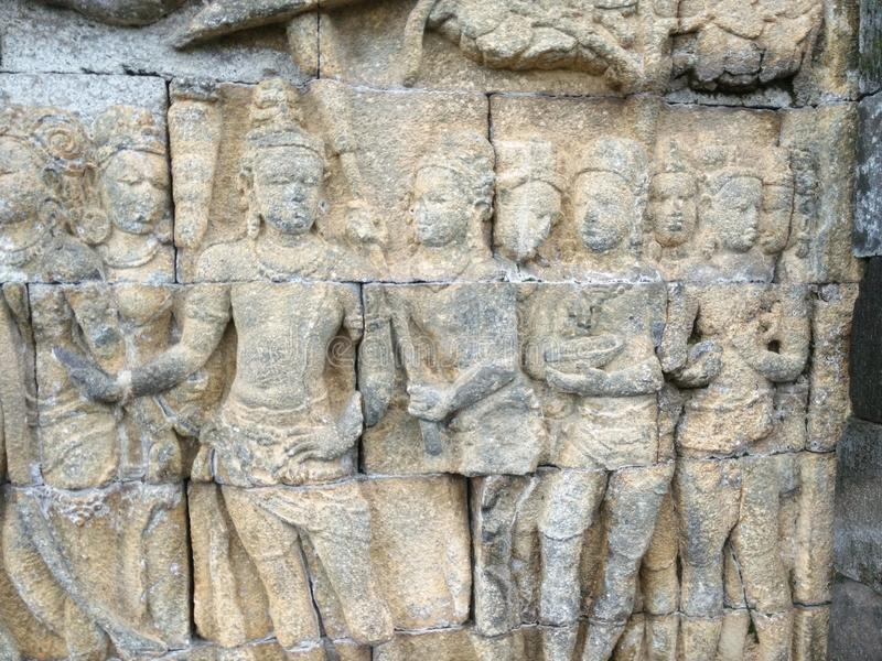 Parete di Borobudur immagine stock