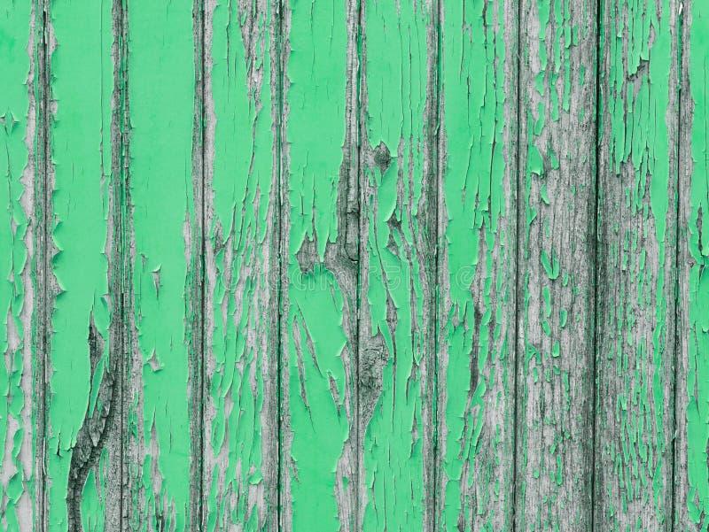 Parete di legno appassita con pittura di pelatura verde immagini stock
