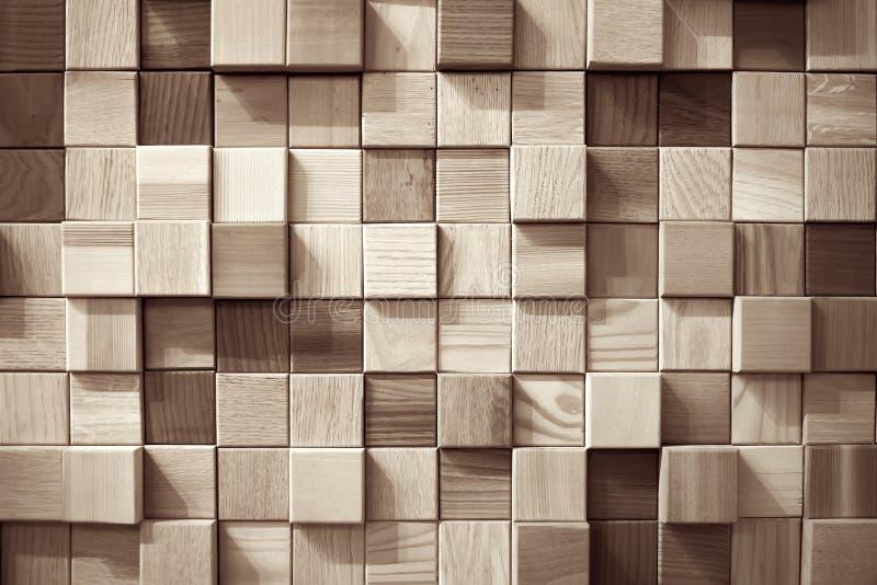 Parete di legno dei quadrati fotografia stock