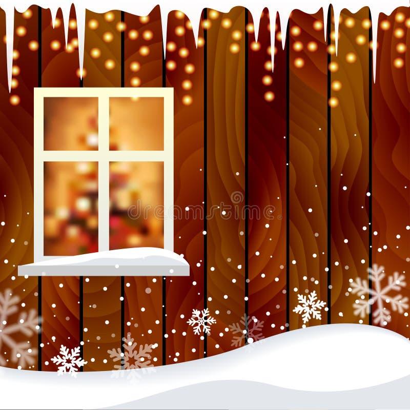 Parete di legno della casa con un fondo della finestra illustrazione di stock