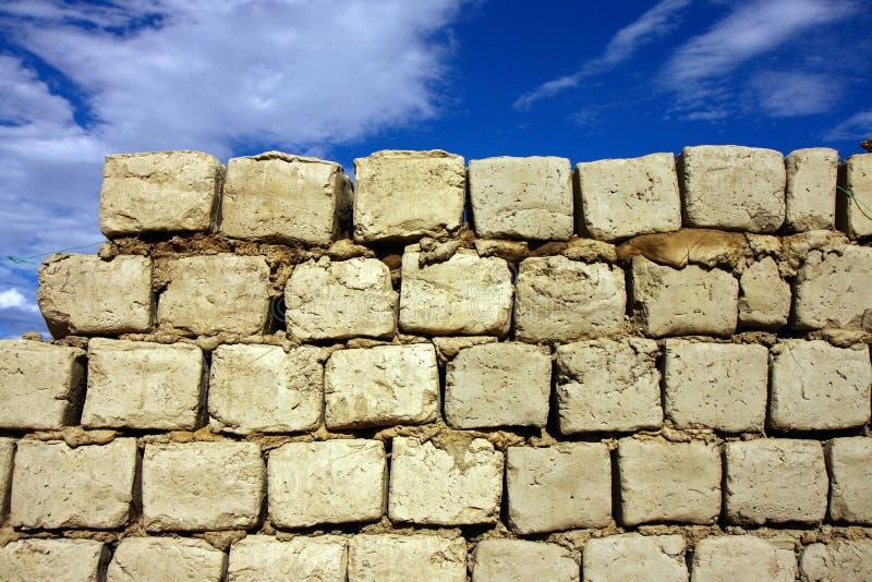 Parete di mattoni asciutta del fango di Sun immagini stock libere da diritti