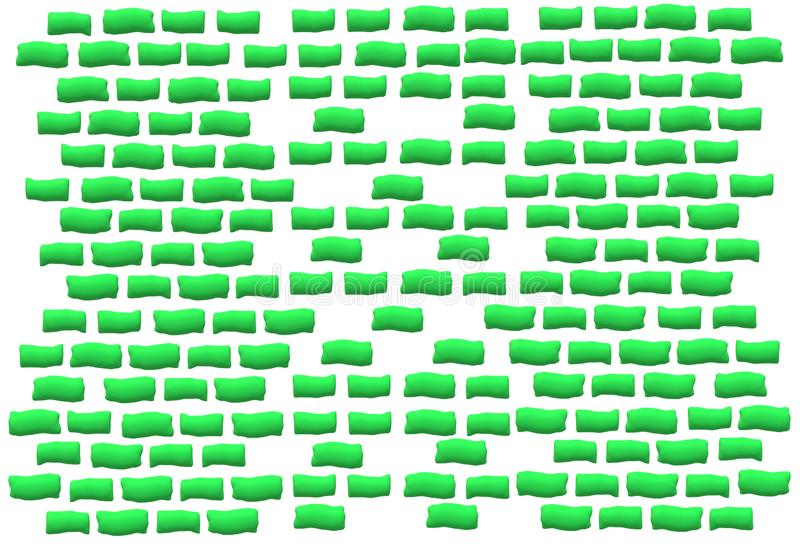 Parete di mattoni di forma irregolare di verde dell'estratto illustrazione di stock