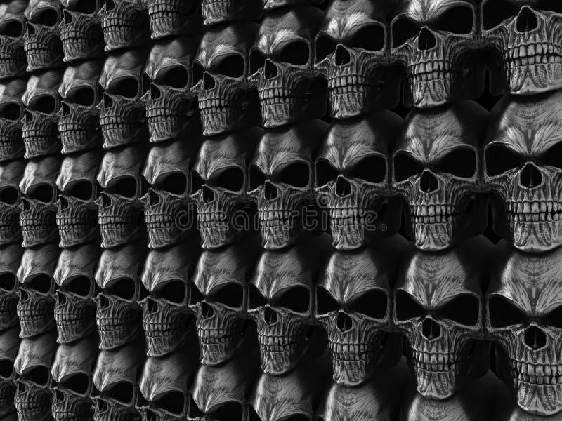 Parete di metalli pesanti scura piena dei crani fotografie stock libere da diritti