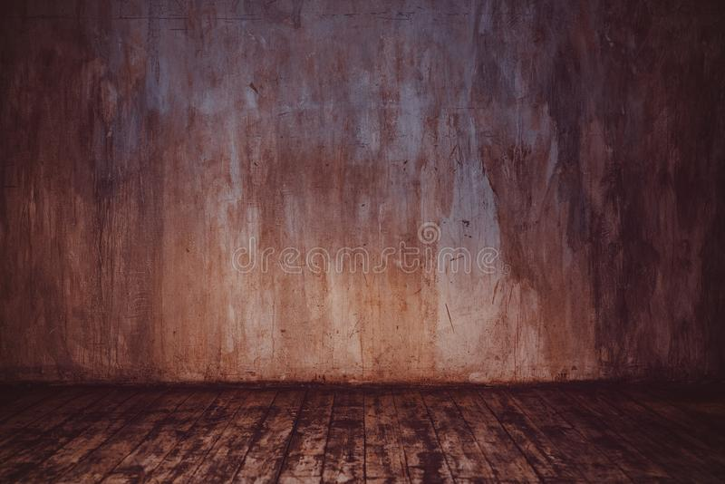 Parete di pietra e pavimento di legno immagini stock