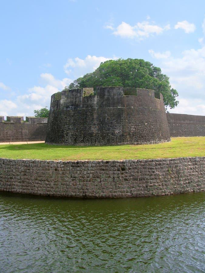 Parete di Tipu Sultan Fort, Palakkad, Kerala, India fotografia stock libera da diritti
