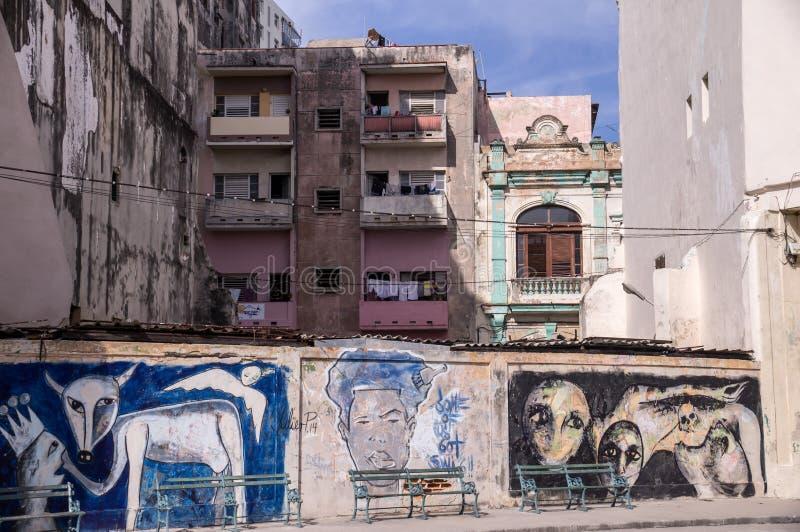 Parete dipinta a Avana immagine stock