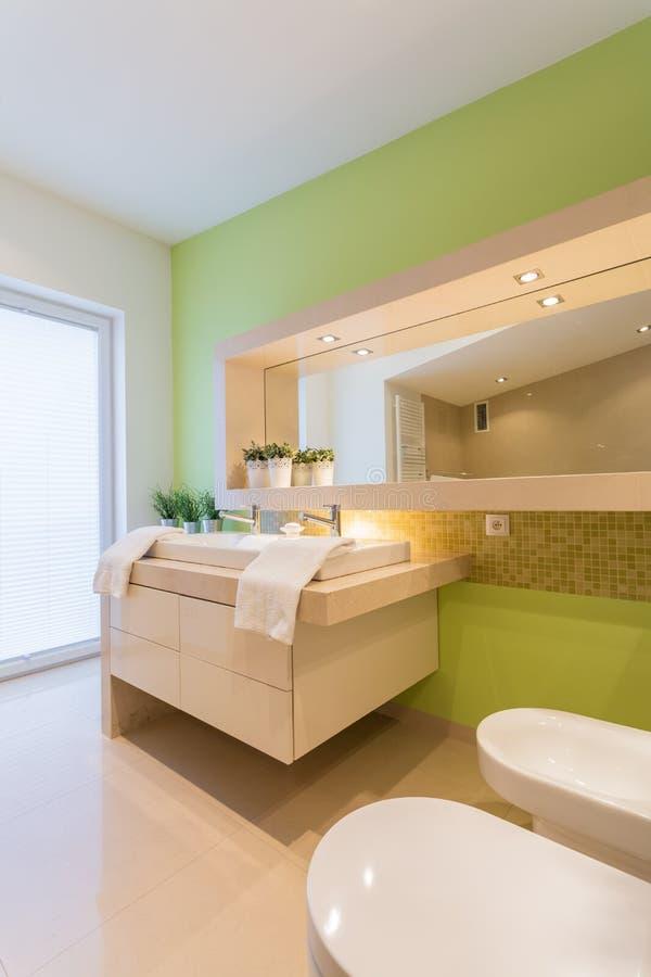Parete dipinta verde in bagno immagini stock