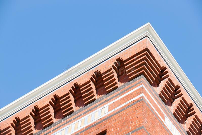 Parete esterna architettonica del dettaglio del mattone fotografia stock