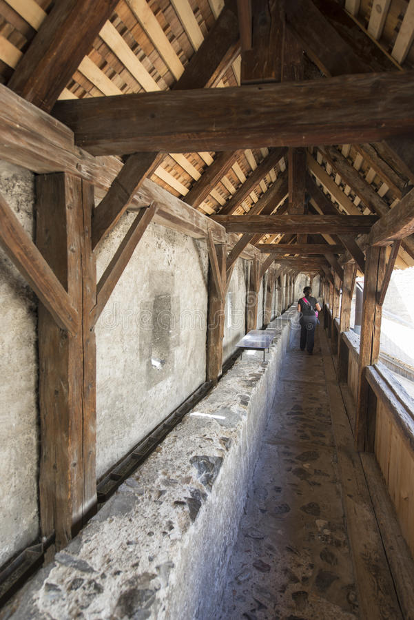 Parete esterna di protezione del castello di Chillon, Svizzera fotografie stock libere da diritti