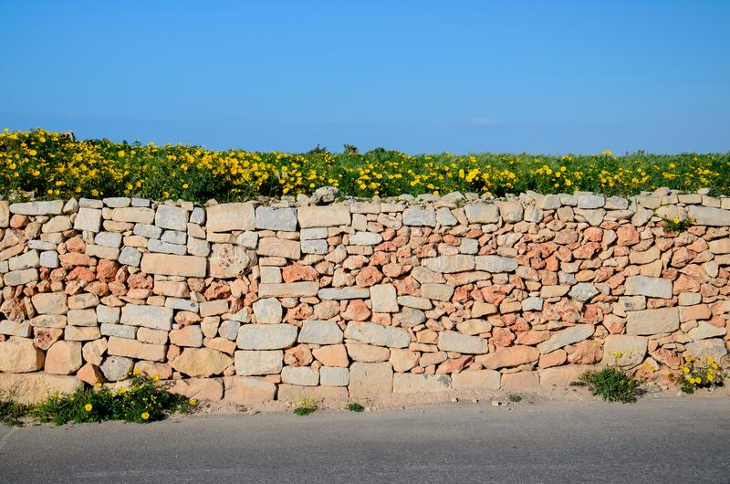 Parete giallo arancione del mattone della pietra lungo la via dell'asfalto, Malta fotografie stock libere da diritti